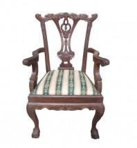 Mahoniowy fotel z podłokietnikami
