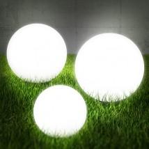 LAMPY OGRODOWE BIAŁE KULE 3 SZTUKI 30, 35 ,40 cm